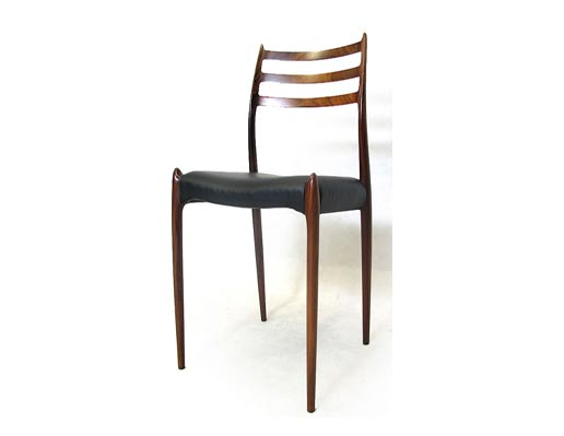 6 Leather - Rosewood Chairs Model 78