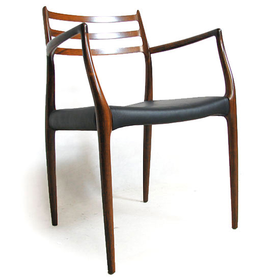 2 Leather - Rosewood Carver Chairs Model 62