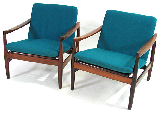 Two Solid Rosewood Easy Chairs