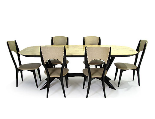 Marble Top Beech Table - Chairs