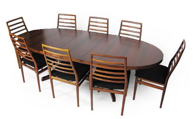 8 LADDER BACK ROSEWOOD DINING CHAIRS