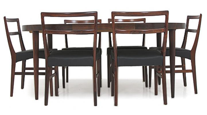 6 HIGH BACK DANISH ROSEWOOD DINING CHAIRS