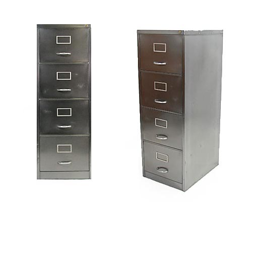 Vintage Stripped And Polished Steel Filing Cabinet