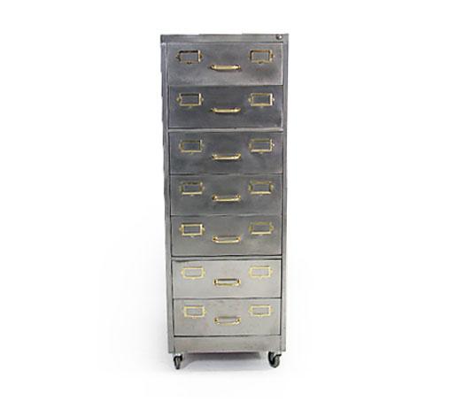 1950s Vintage Brass - Steel Filing Cabinet