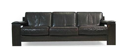 Oak And Leather 3 Person Sofa