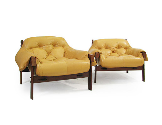 A Pair Of Teak - Leather Lounge Chairs