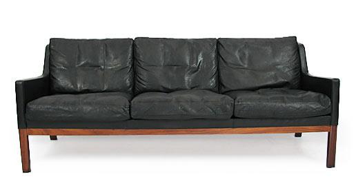 Rosewood And Buffalo Leather Sofa