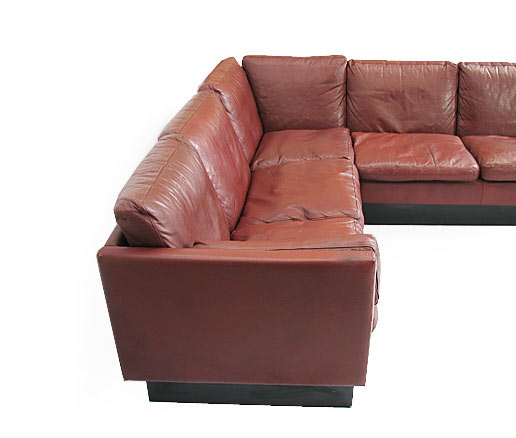 Large Leather Goose Corner Sofa Orange And Brown