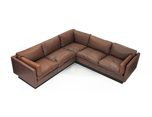 Leather - Goose Corner Sofa | Orange and Brown