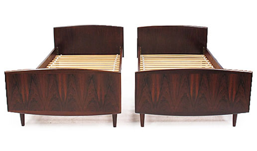A Pair Of Danish Rosewood Single Beds