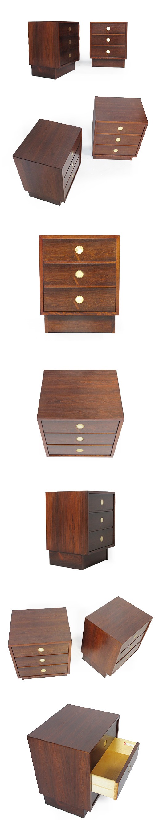 A PAIR OF ROSEWOOD & BRASS CABINETS