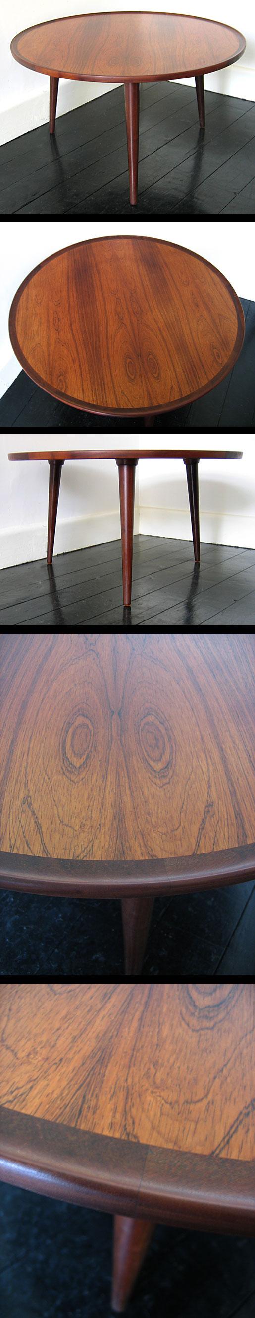 THREE LEGGED ROSEWOOD COFFEE TABLE